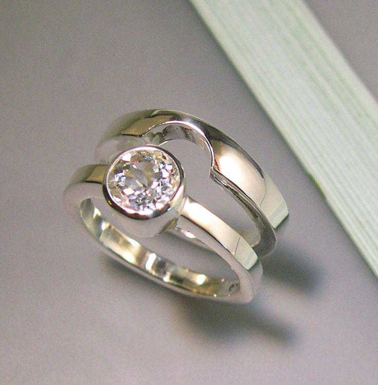 For AJ White Topaz Wedding Band Set, Sterling Silver. $170.00, via Etsy.