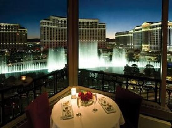 Eiffel Tower Restaurant. So romantic! You get a view of the Bellagio fountains while you dine.