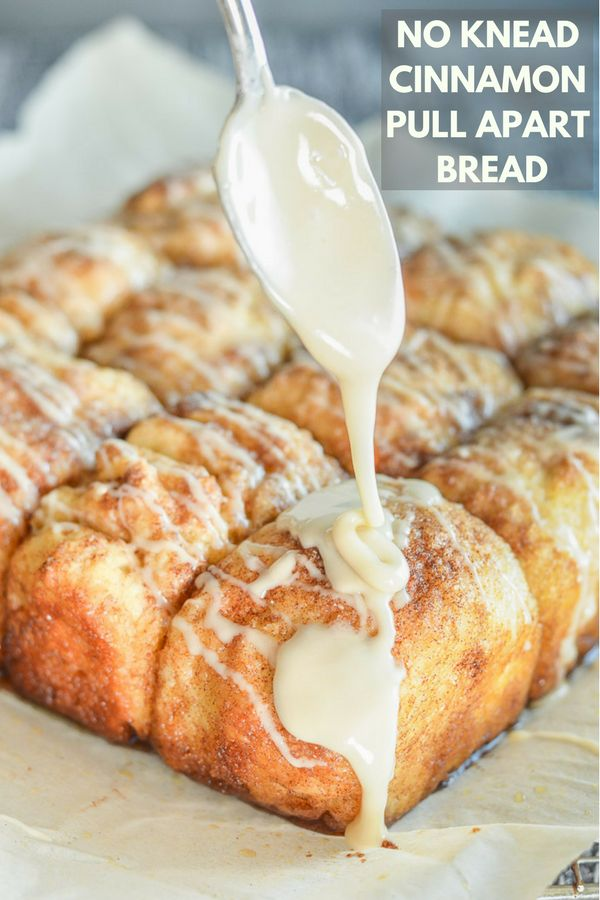 No Knead Cinnamon Pull Apart Bread. All the sticky deliciousness of cinnamon rolls but with none (and I really mean none) of the effort! It needs about 10 minutes of hands on time and will totally fit around your schedule. It can be ready in a couple of hours or you can leave it to rest in the fridgeovernight & bake it up in the morning. It makes THE perfect brunch! #vegan #nokneadbread #cinnamon #noknead #bread #pullapartbread