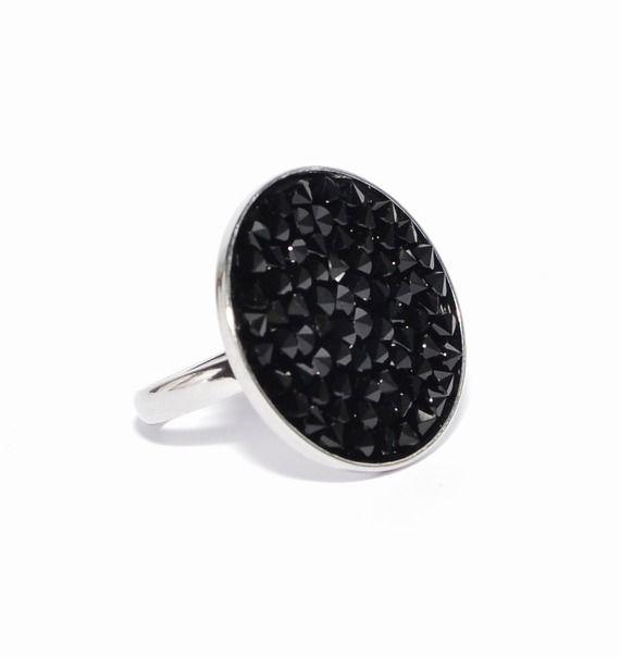 """Bague cabochon """"crystal rock"""" swarovski noir brillant"""