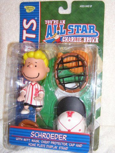 Peanuts Schroeder Baseball Catcher Figure In Red Uniform with Accessories @ niftywarehouse.com #NiftyWarehouse #Peanuts #CharlieBrown #Comics #Gifts #Products