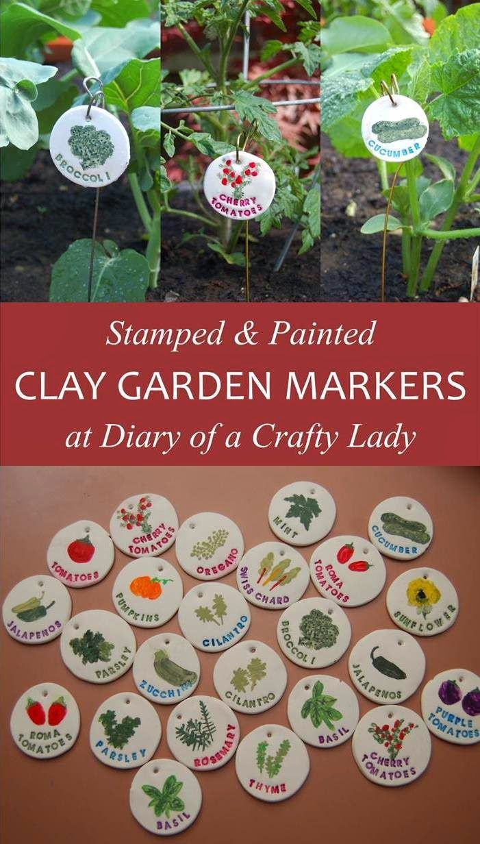 #DIY #productideas Stamped and Painted Clay Garden Markers