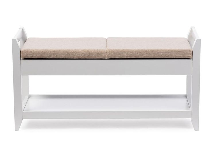 Baxton Studio Maudie White Wooden Shoe Storage Seating Bench w/Taupe Cushion