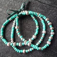 N°24 - 3 bracelets élastiqués perles forme abaque à facettes turquoise naturelles et perles métal argent