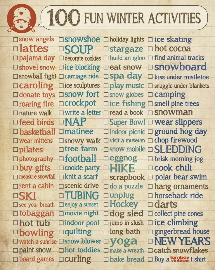 100 Fun Things To Do In Winter, Fun Ideas, Wintertime Checklist