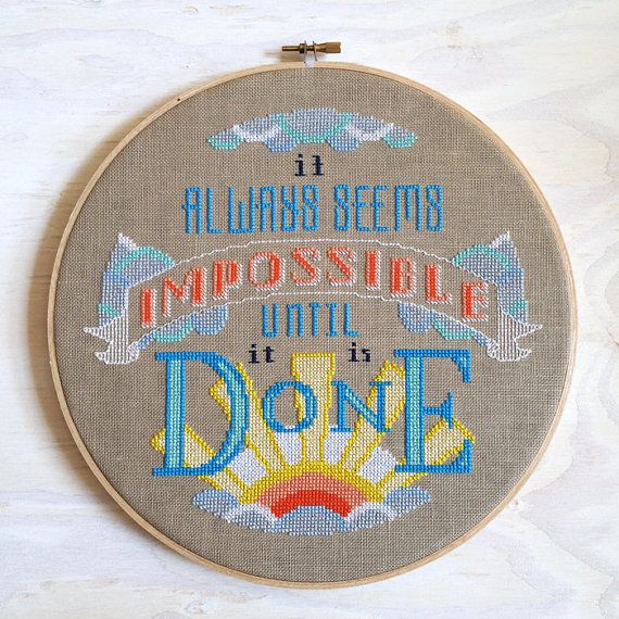 Impossible - Nelson Mandela quote Cross stitch pattern PDF - Instant download