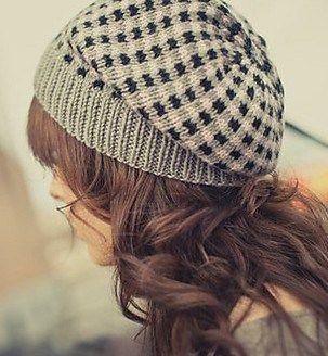 Check Plaid Slouchy Hat Knitting Pattern