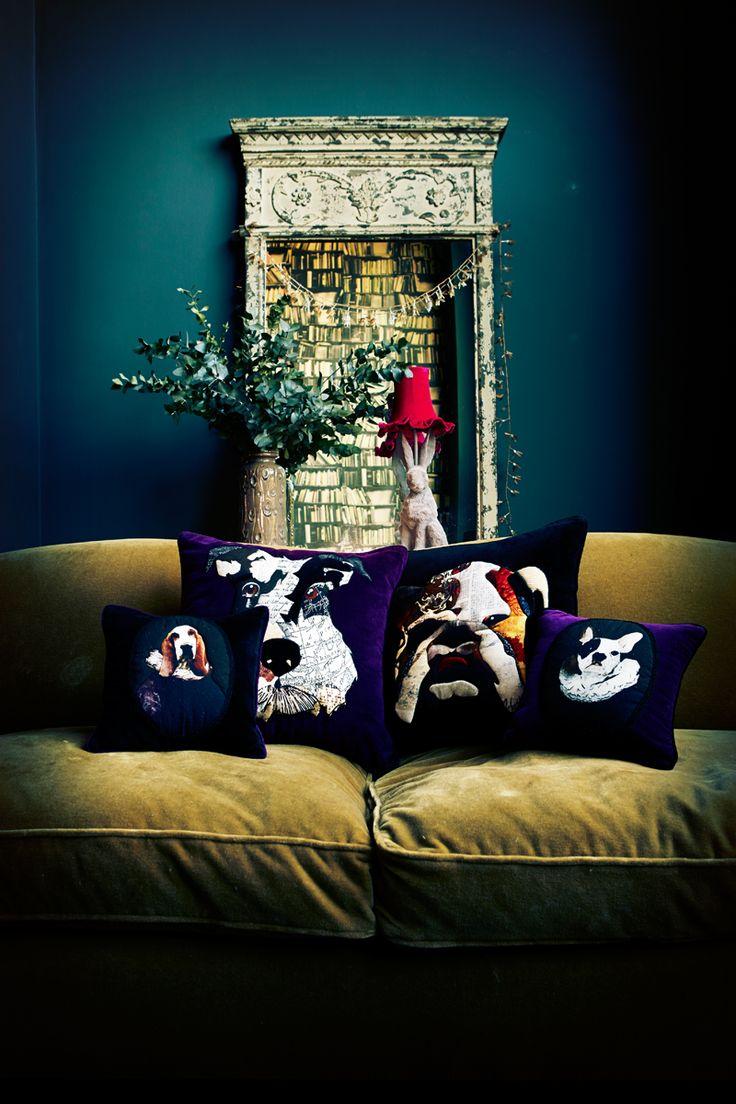 Patchwork cushions on beautiful velvet -Abigail Ahern