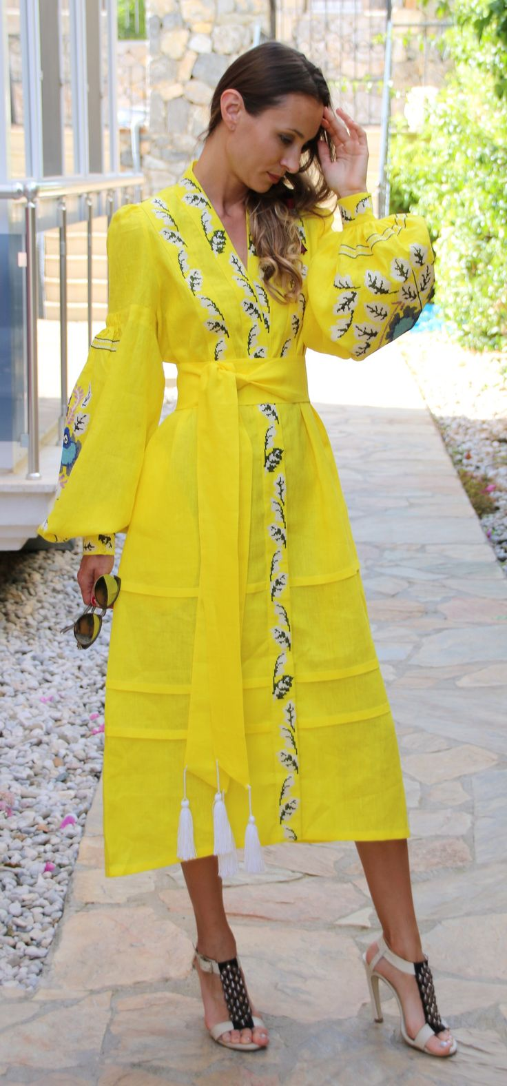 Bright yellow Yulia Magdich style wrap vyshyvanka linen MIDI dress multi-color embroidery size XS-XXL MYD001-0120