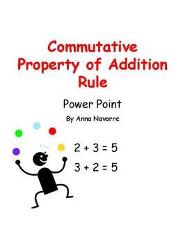 This 28 slide Commutative Property of Addition Power Point is a tool that can be used to help provide students with a better understanding of what commutative property is. The teacher uses the slides to walk through an explanation of the term and then provides students with some practice examples.