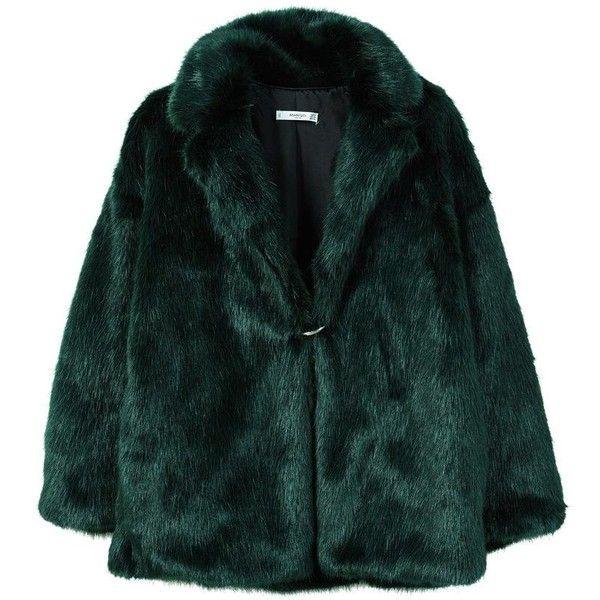 MANGO Lapels faux fur coat (4.245 RUB) ❤ liked on Polyvore featuring outerwear, coats, jackets, fur jackets, tops, emerald green, emerald green coat, fake fur lined coats, faux fur coat and lapel coat