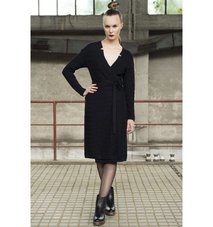 Wrap dress Ulla is knitted in a beautiful pattern. Sober glittery effect at  sleeve end