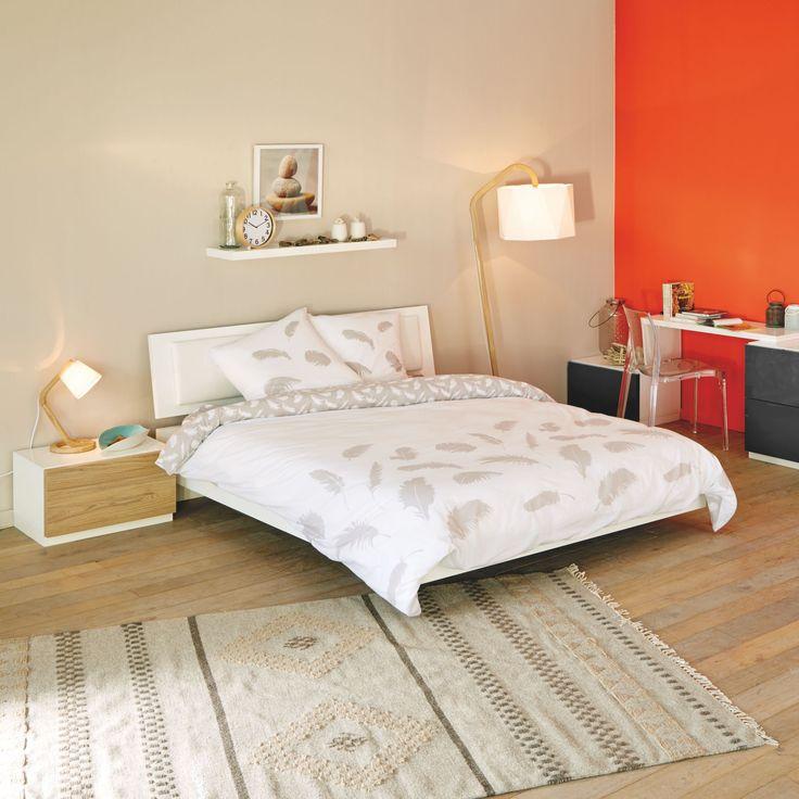 Marina chambre - Lits 2 places-Lits Lit 140x200cm avec tête de lit laquée blanche