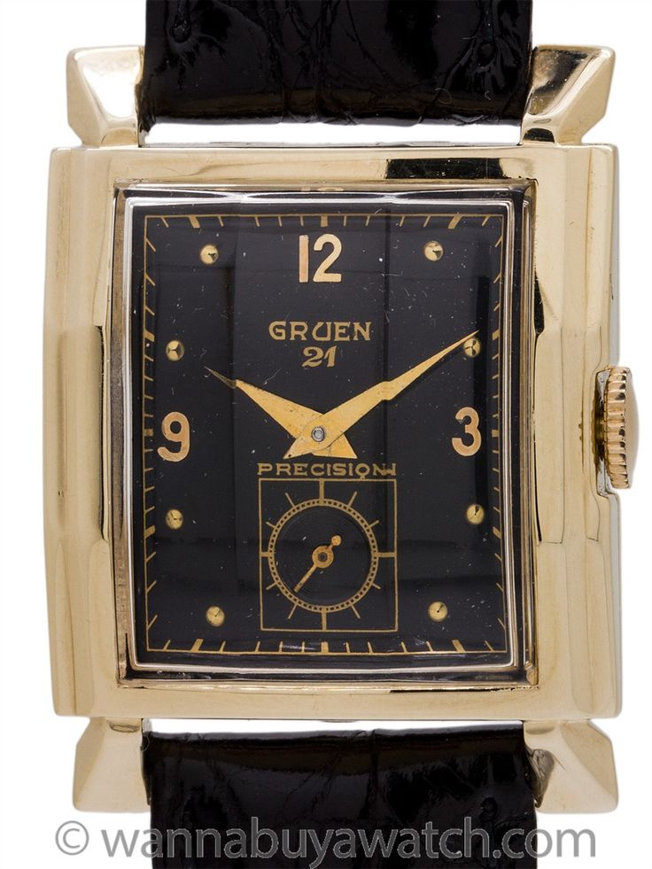 Gruen 21 14K YG Scarce Retro Design circa 1950's - Scarce retro design Gruen 14K YG circa 1950's with dramatic 26.5 x 35mm case with wide stepped sides, and flared footed lugs. With vertically faceted crystal, and glossy black original dial with gold raised arabic and dot indexes and tapered dauphine hands. Powered by Gruen 335 caliber 21 jewel movement with subsidiary seconds. Fully serviced and detailed and offered on your choice of fine leather or exotic skin strap. Offered with our 1…