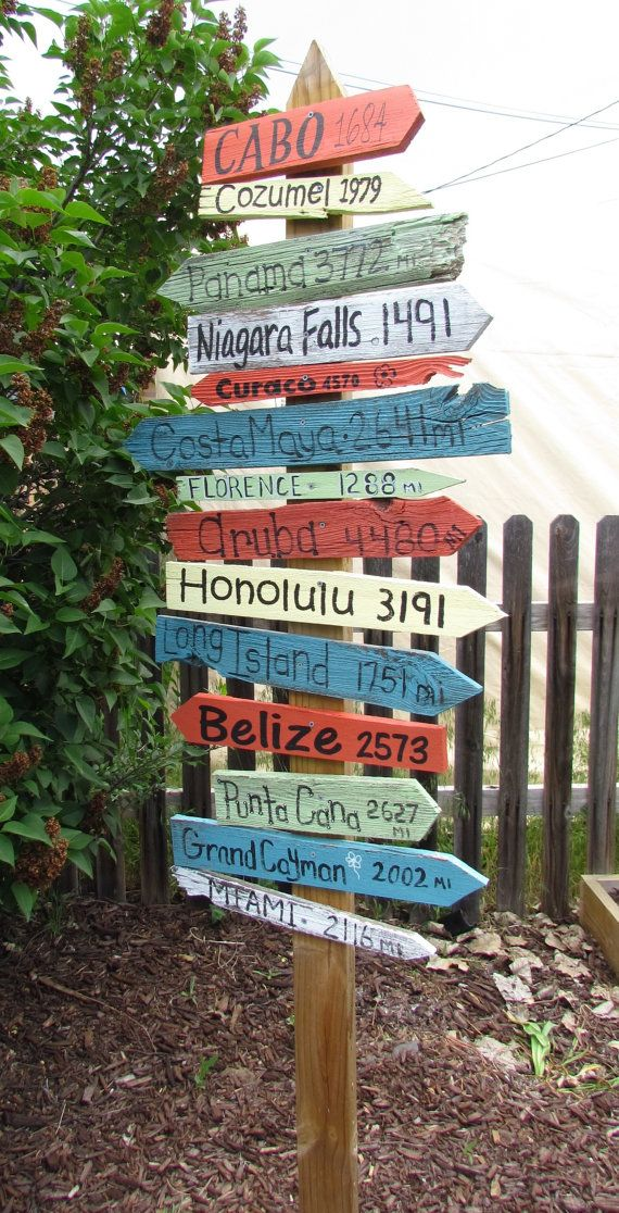 A Personalized Directional Sign for Your Yard! Vacation,Beach,Lakes,Kids Fantasy Land,Wedding or your imagination.Price includes 7 signs!