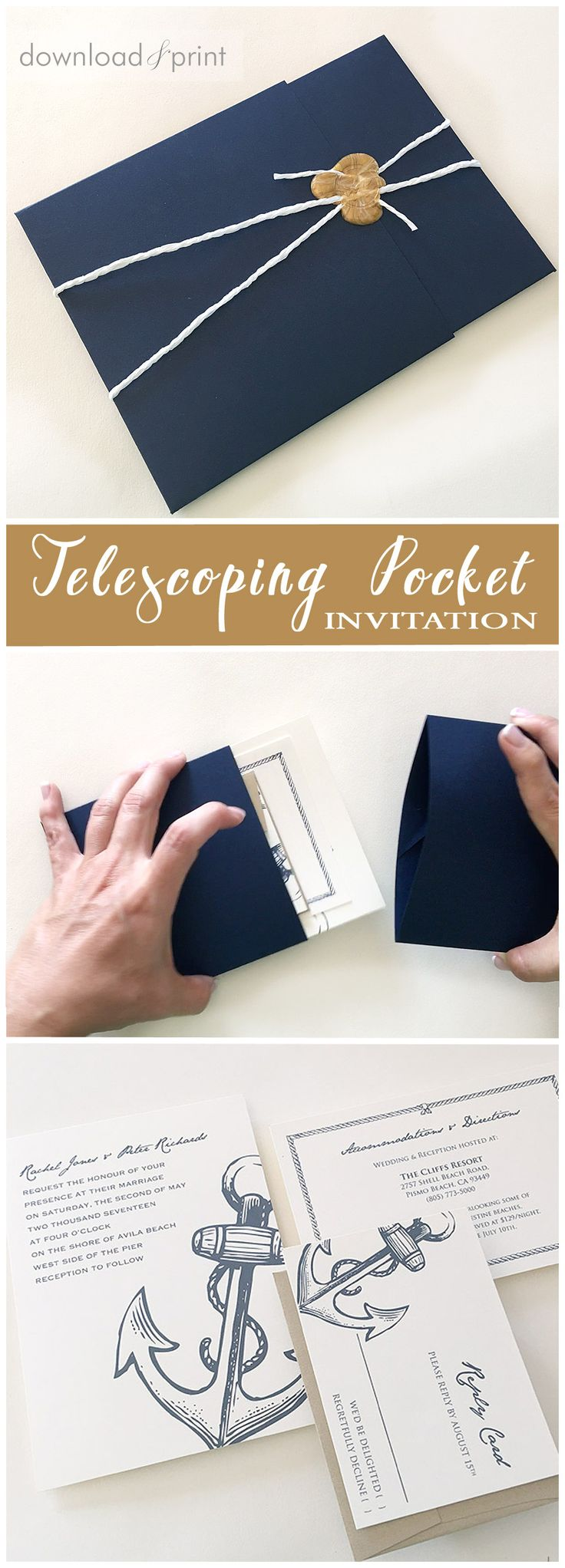 Unique telescoping pocket wedding invitation. Hack from two invitation envelopes! Slide the pocket apart to reveal the invitation inside.