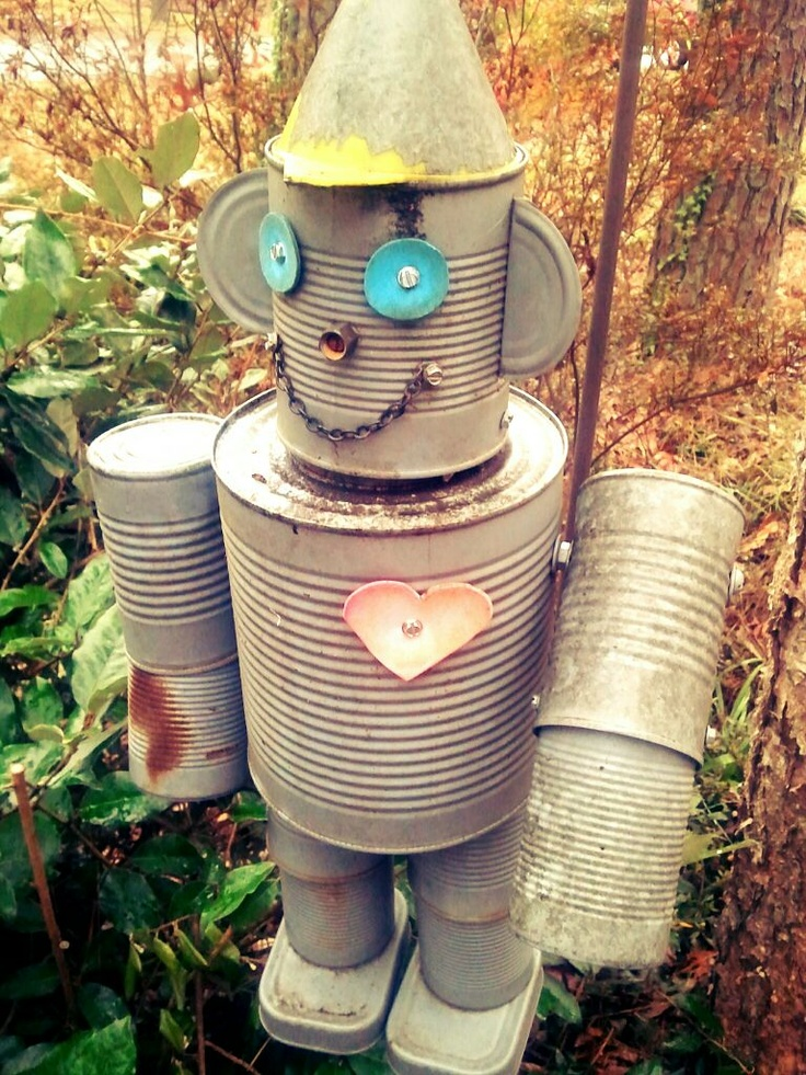 Tin man made out of recycled cans for the house or yard for How to make a tin man out of cans