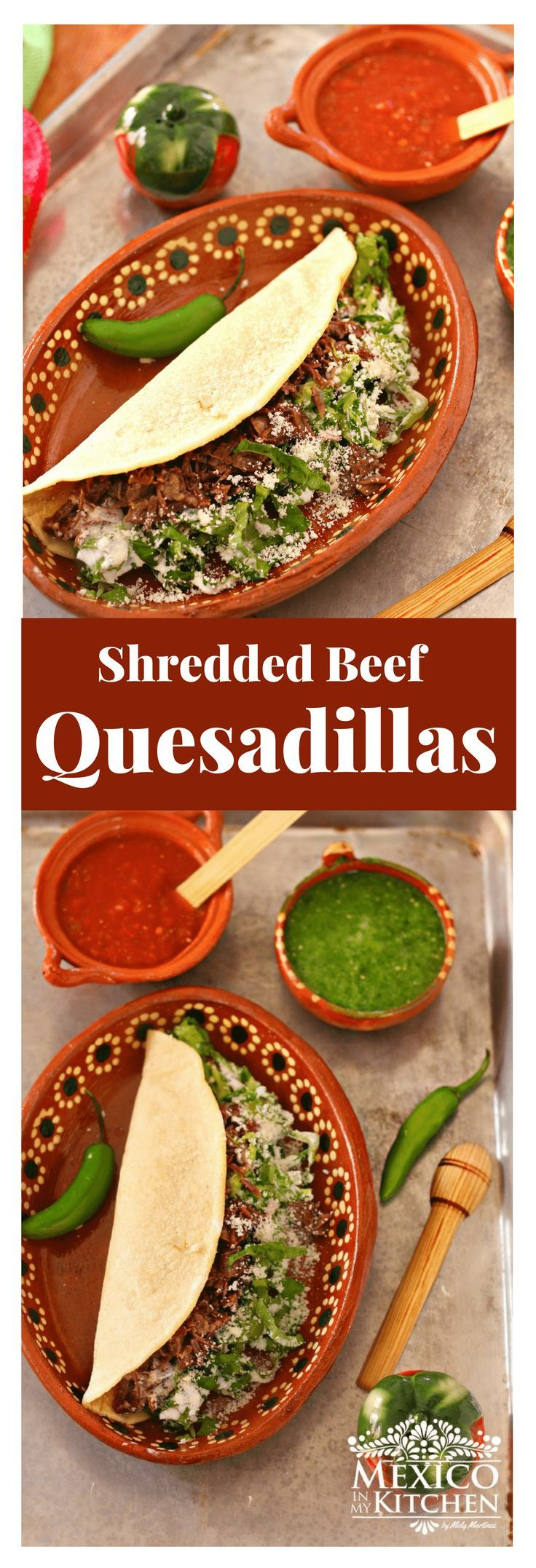 Shredded Beef Quesadillas │  This recipe for Shredded Beef Quesadillas is inspired by the quesadillas sold at a small eatery in Langley Park, Maryland, located within the Washington #mexicanrecipes #mexicanfood #beef #quesadillas