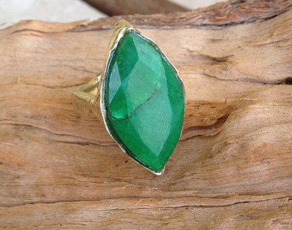 Marquise cut opaque deep green emerald and brass by RingTheRing