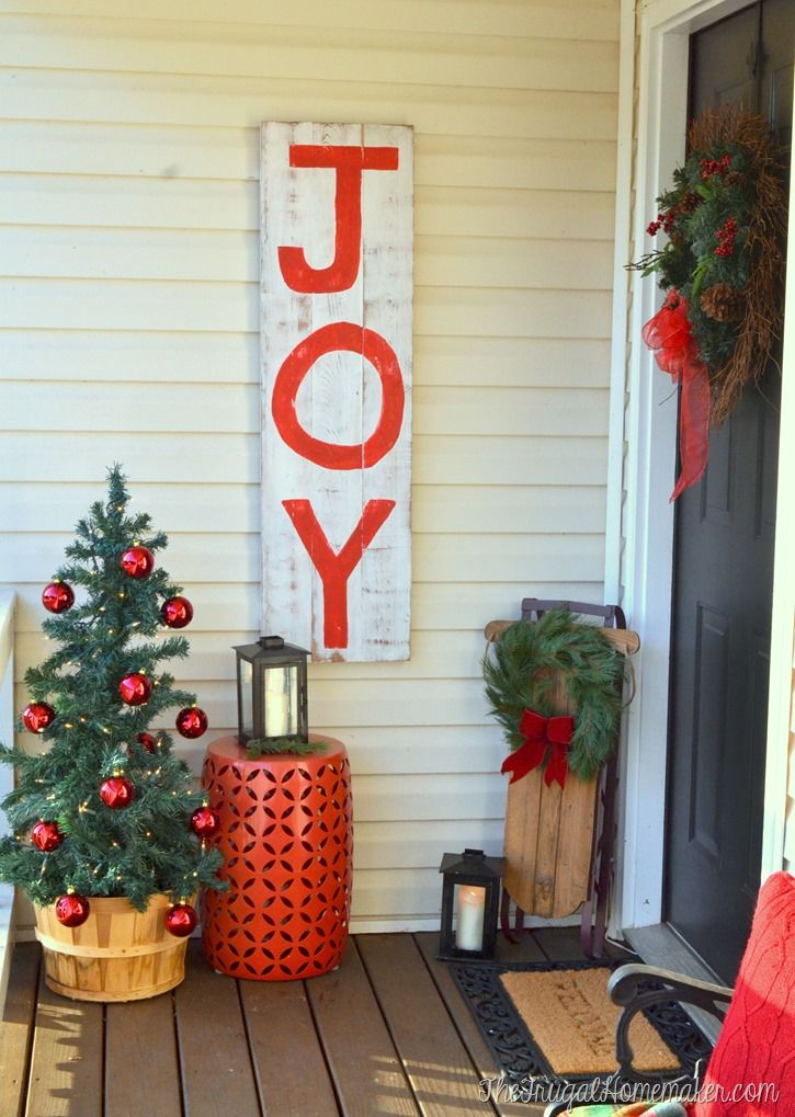 Rustic Wood JOY sign by The Frugal Homemaker