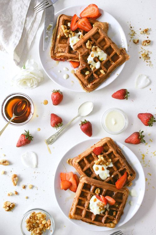 Strawberry Rosewater Waffles with Maple Toasted Walnuts: Everything you need for Mother's Day brunch, breakfast in bed, or just a lazy weekend morning. Recipe and more here http://www.kaleandcaramel.com/strawberry-rosewater-waffles.