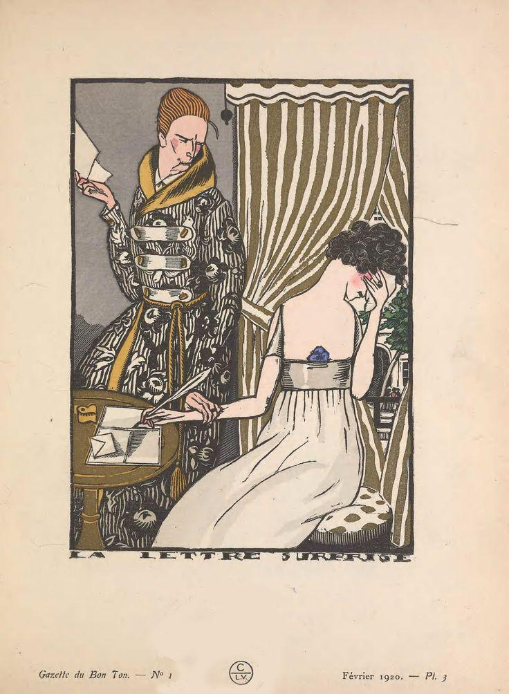 Art Deco fashion illustration from 1920 magazine Gazette du Bon Ton