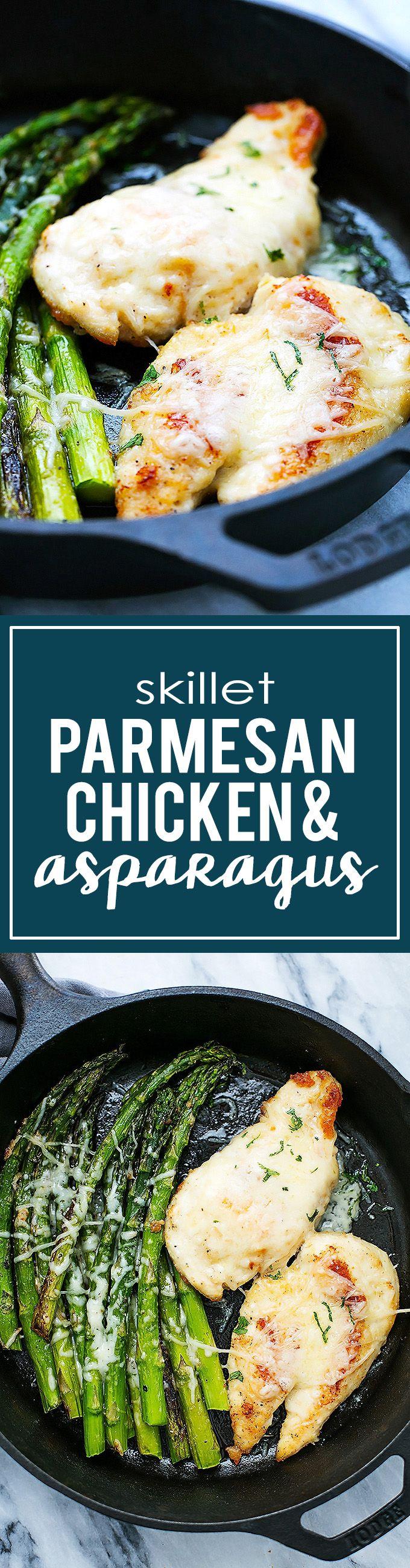 One Pan Skillet Parmesan Chicken & Asparagus | Creme de la Crumb