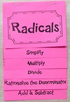 Introduction to Radicals (Algebra Foldable). Looks awesome!