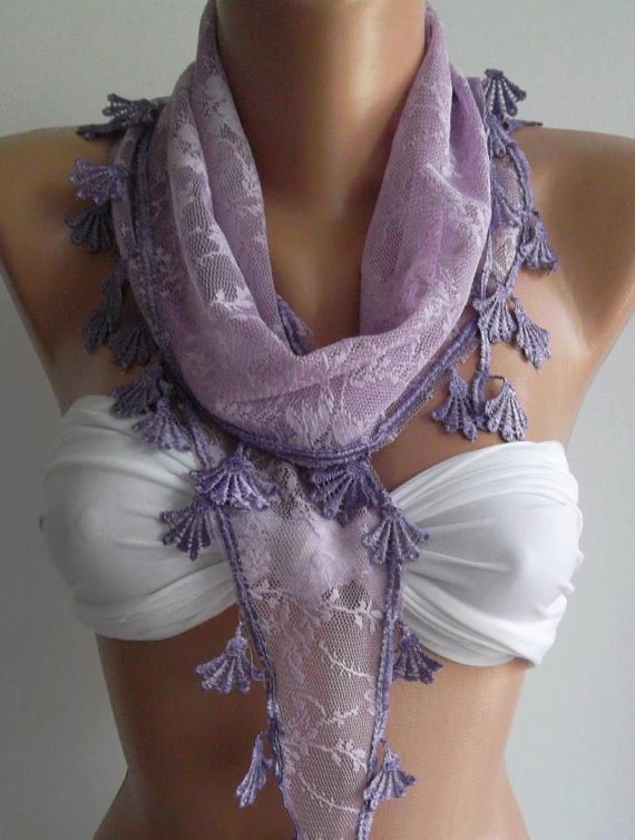Lilac  // Scarf with Lacy Edge,,,,.