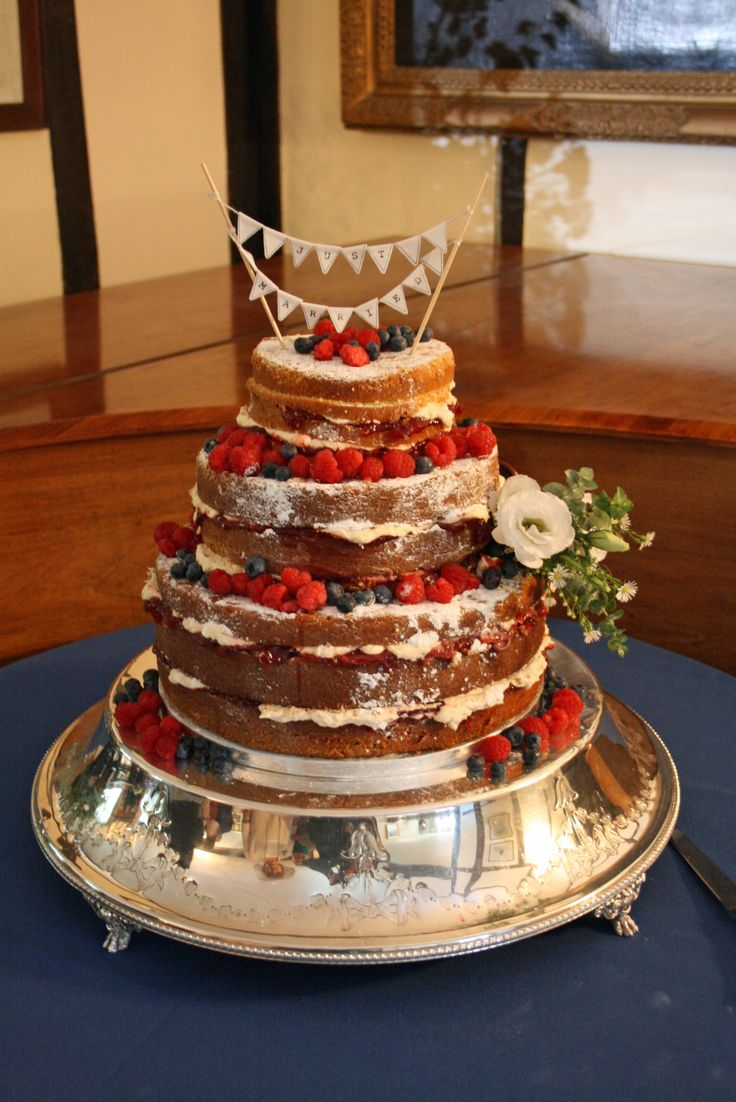 Naked Wedding Cake with Blueberries and Raspberries