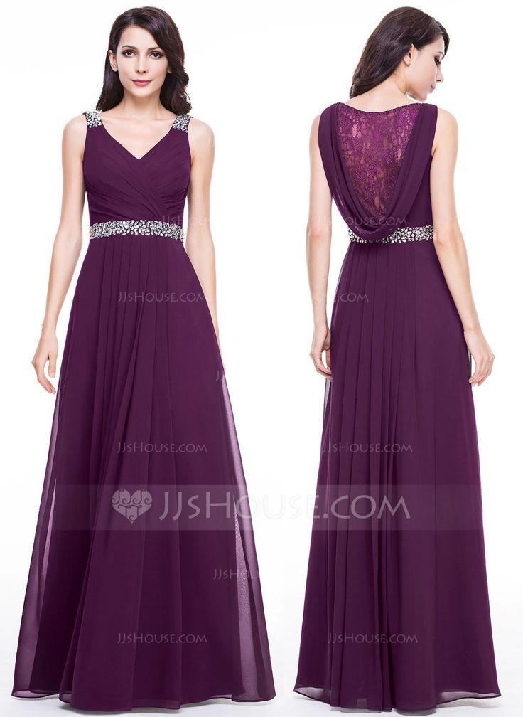A-Line/Princess V-neck Floor-Length Chiffon Evening Dress With Lace Beading (017056118) - JJsHouse