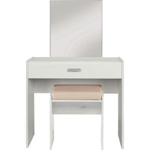 Capella 1 Drw Dressing Table, Stool and Mirror - White.