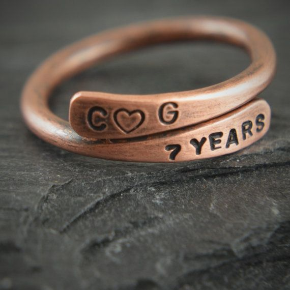 Personalized Pure Copper Ring. Copper gift. Copper. Gift for 7th anniversary. Copper anniversary. Copper jewelry. 7th anniversary gift.
