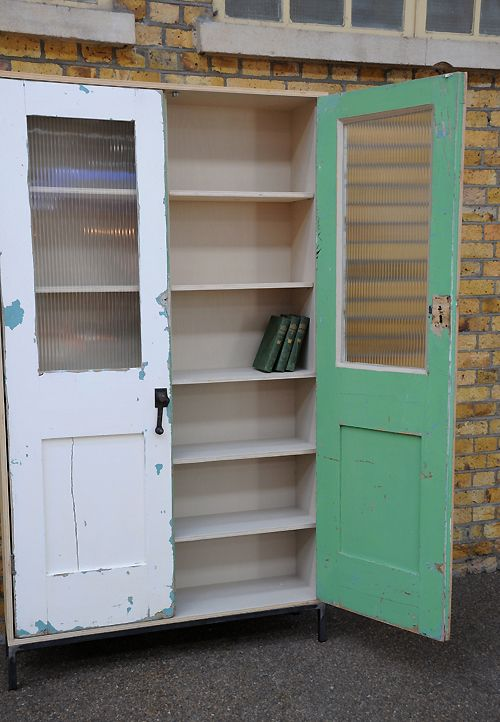 (adding old doors to a bookcase) vintage-retro-antique-furniture