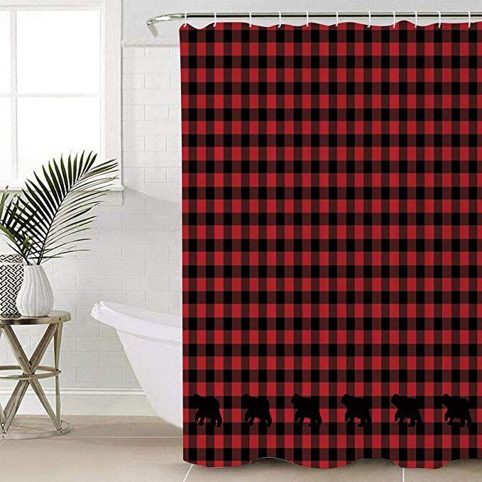 Buffalo Plaid Shower Curtain Waterproof Polyester Fabric Shower