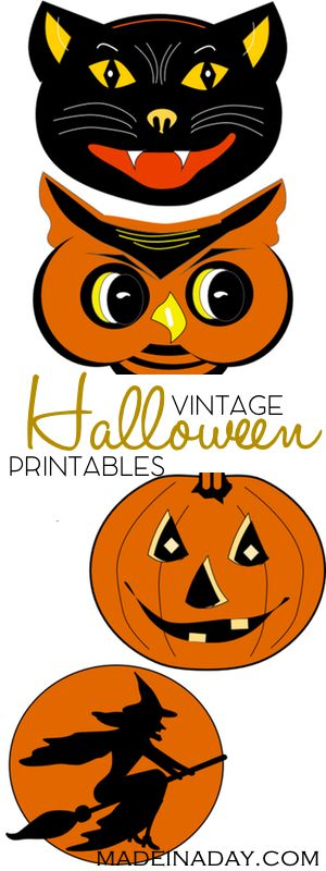 FREE Vintage Halloween Printable Garland, Print and cut out these super cool vintage Halloween characters for parties & garlands.…