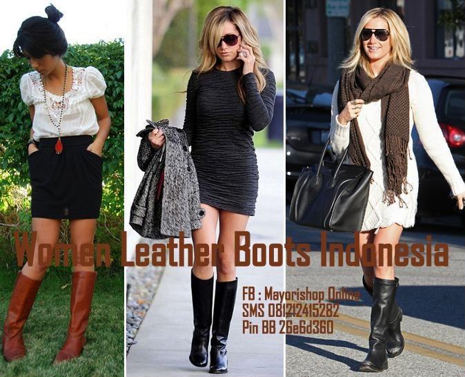 Sepatu Boots Kulit Wanita Indonesia - FB:Mayorishop Online SMS +6281212415282 Blackberry Pin 26e6d360