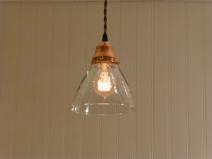 Copper Pendant Light with Hand Blown Glass Funnel Shade. $78.00, via Etsy.