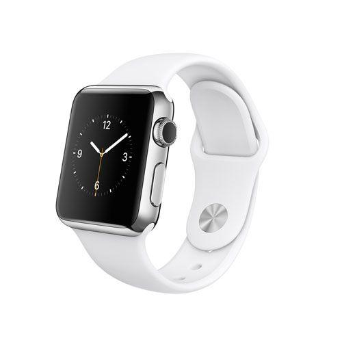 Apple Watch de 38 mm avec boîtier en acier inoxydable et bracelet sport blanc
