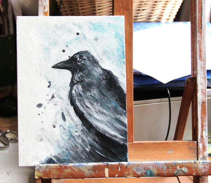 LIVRAISON OFFERTE Hugin The raven of Odin, le corbeau d'Odin : Peintures par epi-de-malice