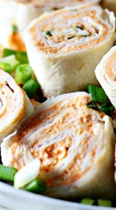 Five Ingredient Buffalo Chicken Roll Ups