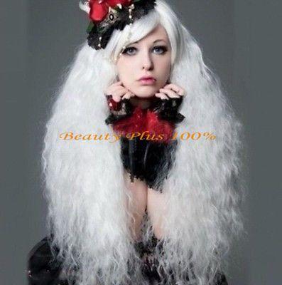 送料無料ファッションガール女性レディ女の子ロリータ人気ふわふわロングカーリーホワイトコスプレウィッグ