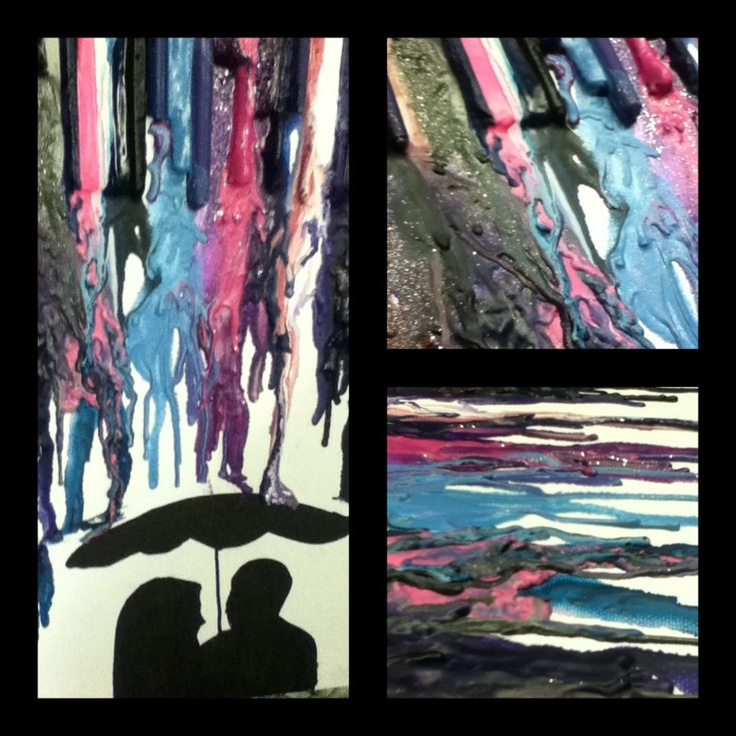 My interpretation of melted crayon art: Canvas