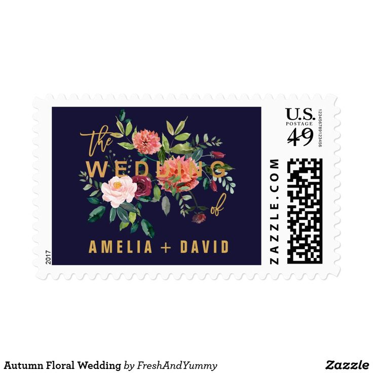 Autumn Floral Wedding Postage These autumn floral wedding postage stamps are perfect for a fall wedding. The design features a stunning bouquet of blush, orange peach, and marsala burgundy flowers with faux gold foil typography. Personalize the stamps with the name of the bride and groom. Please Note: This design does not feature real gold foil. It is a high quality graphic made to look like gold foil.