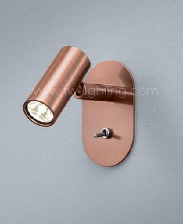 Baulmann LED reading light for headboard copper finish 64.351.05