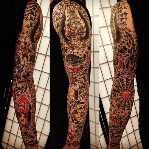 46 best images about tattoo ideas on pinterest for Old school tattoo sleeve