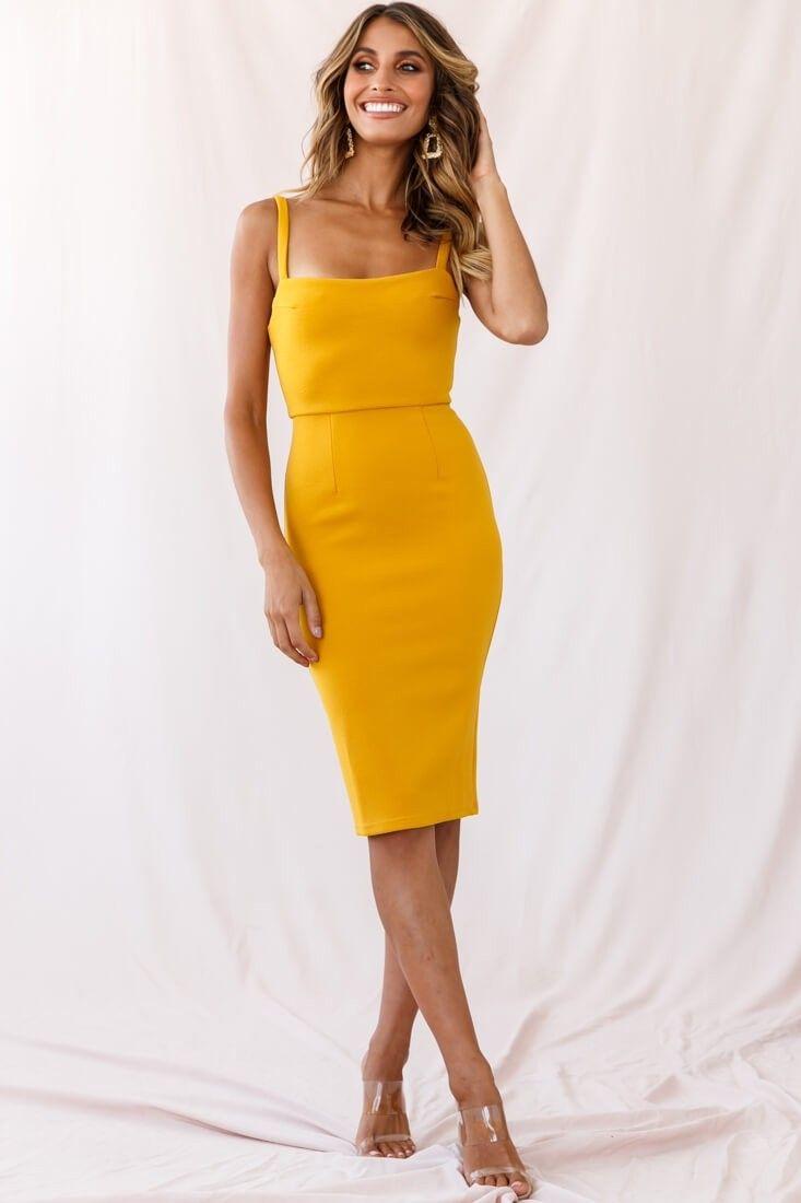 Georgia Square Neckline Midi Dress Yellow Yellow Midi Dress Yellow Dress Outfit Classy Dress [ 1100 x 733 Pixel ]
