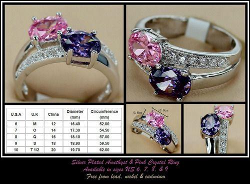 Stunning Amethyst Pink Fashion 925 Silver Crystal, AU$4.00