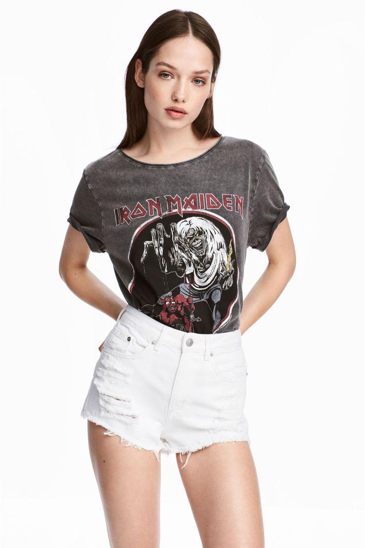 T-shirt z motywem - Ciemnoszary/Iron Maiden - ONA | H&M PL