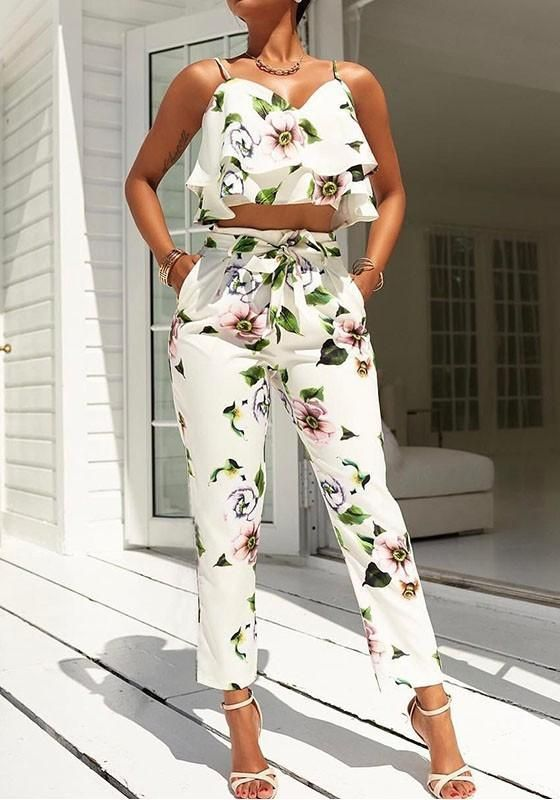 8ad1b83a0ee White Floral Print Cascading Ruffle Pockets Spaghetti Strap Drawstring Waist  Long Jumpsuit